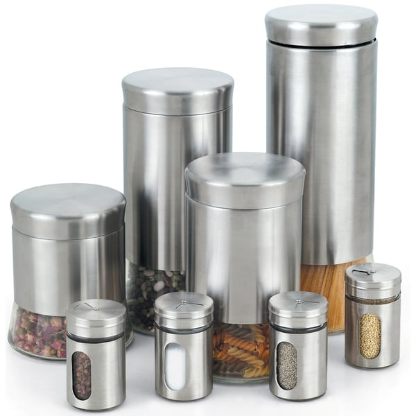 Cook N Home 8-piece Stainless Steel Canister and Spice Jar Set