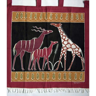 'Giraffe and Kudus' Hand-Painted African Tapestry (Zambia)