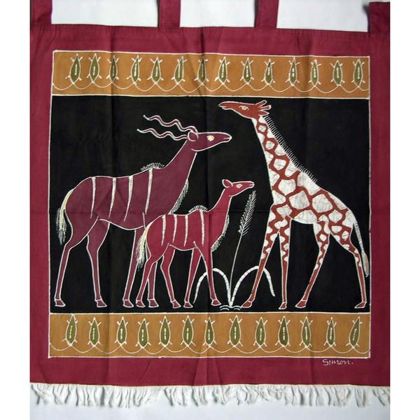 'Giraffe and Kudus' Hand-Painted African Tapestry (Zambia)