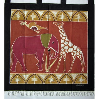 'Elephant and Giraffe' Hand Painted African Tapestry (Zambia)