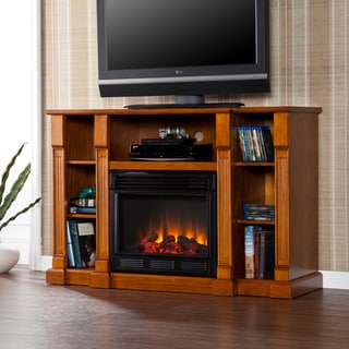 Bernardo Glazed Pine Electric Media Fireplace