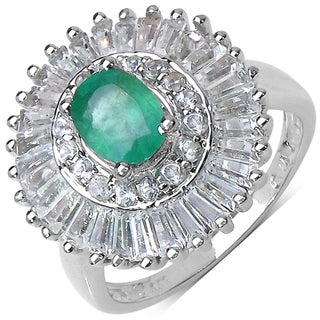 Malaika Sterling Silver 2 7/8ct TGW Emerald and White Topaz Ring