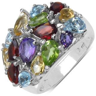 Malaika Sterling Silver 4 3/5ct TGW Multi-gemstone Ring