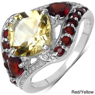 Malaika Sterling Silver 4ct TGW Citrine or Garnet Ring