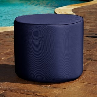 Brooklyn 22-inch Navy Round Indoor/ Outdoor Sunbrella Ottoman
