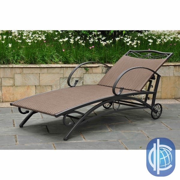 International Caravan Lisbon Resin Wicker Contemporary Outdoor Multi Position Chaise Lounge