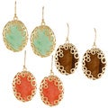 KC Signatures Gold-plated Jade Oval Encased Earrings
