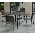 Barcelona 39-inch Square Table with 4 Arm Chairs