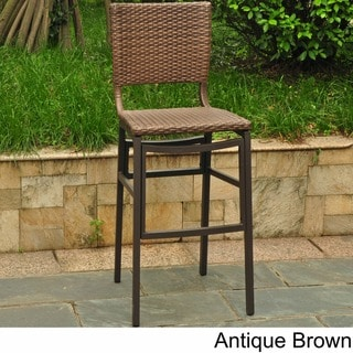 International Caravan Barcelona Resin Wicker/Aluminum Outdoor Bar Height Stools (Set of 2)