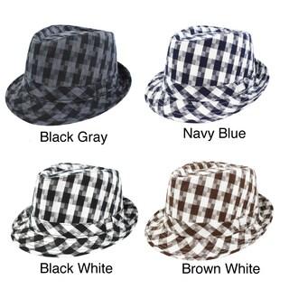 Faddism Men's Plaid Fedora Hat