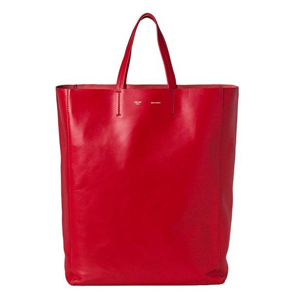 Celine Large Red Leather Tote Bag