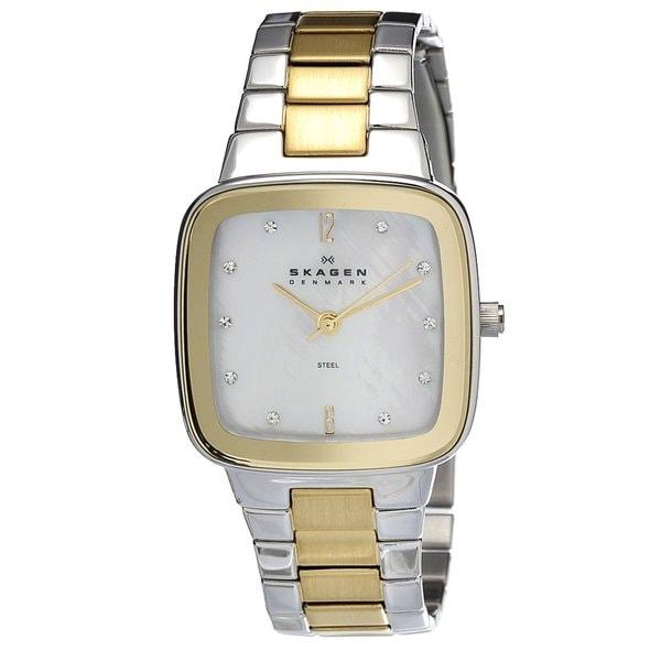 Skagen Women's 658SSGX Classic Square Two-tone Bracelet Watch