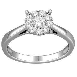 De Couer 10k White Gold 1/2ct TDW Diamond Ring (H-I, I2) with Bonus Necklace