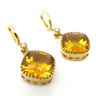 Sonia Bitton 14k Yellow Gold Citrine and Diamond Accent Earrings