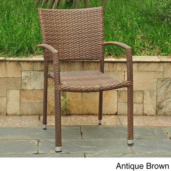 International Caravan Barcelona Resin Wicker/Aluminum Outdoor Dining Chairs (Set of 6)