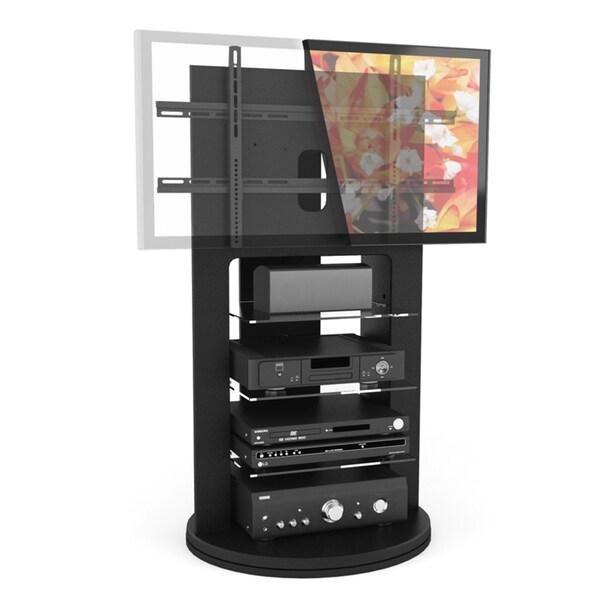 Sonax Zurich Wood Midnight Black 52-inch TV Mount with Swivel Base Entertainment Center