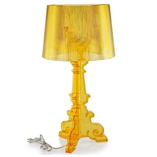 French Grand Acrylic Yellow Table Lamp