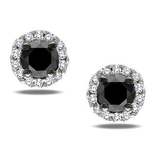 Haylee Jewels Sterling Silver 1/2ct TDW Black and White Diamond Halo Earrings(H-I, I2-I3)