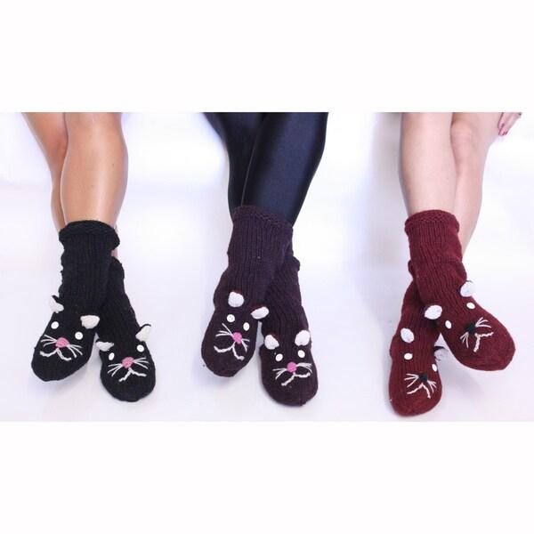 Beige Wool Lion Socks (Nepal)