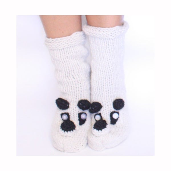 Cream Wool Panda Socks (Nepal)