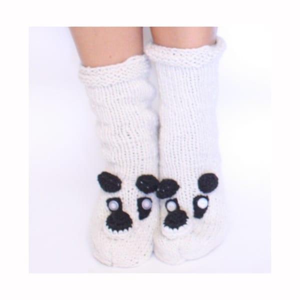 Cream Wool Panda Socks (Nepal)