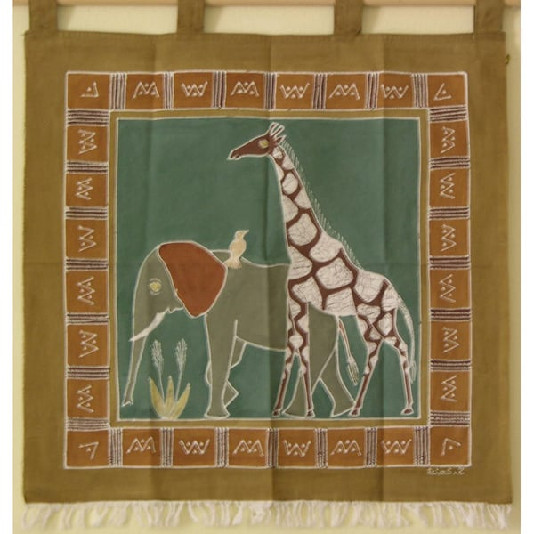 Hand-painted 'Elephant and Giraffe' African Tapestry (Zambia)