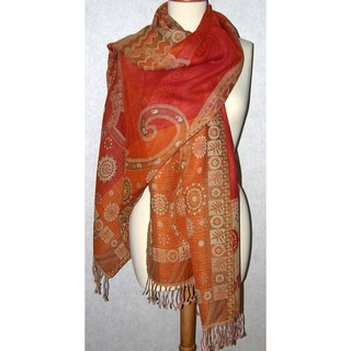 Handwoven Merino Wool Pumpkin Sunshine Floral Cutwork Shawl (India)