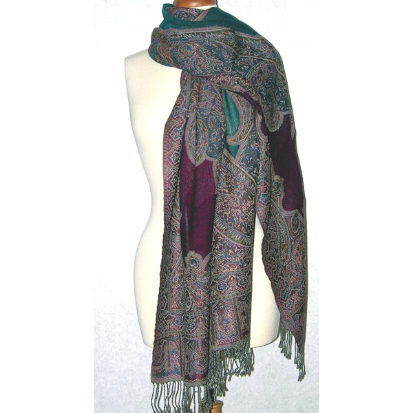 Handwoven Merino Wool Violet/ Teal Paisely Cutwork Shawl (India)