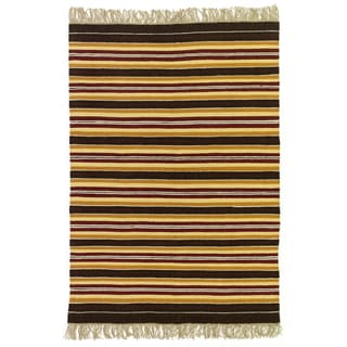 Striped Flatweave Rust, Gold, Brown, and Yellow 100-percent Egyptian Wool Rug (4' x 6') (Egypt)