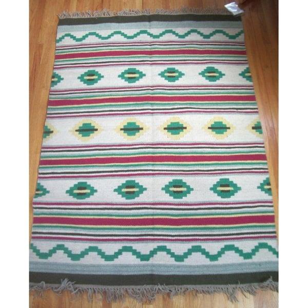 Durango Green, Pink, and Yellow 100-percent Egyptian Wool Flatweave Rug (5' x 7') (Egypt)