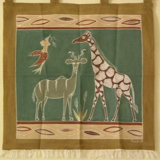 'Giraffe and Kudu' hand Painted African Tapestry (Zambia)