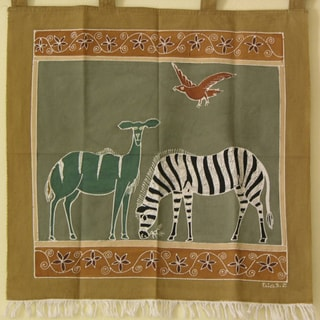 'Zebra and Kudu' hand Painted African Tapestry (Zambia)