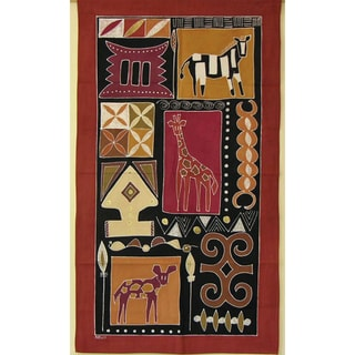 'Zebra and Giraffe' Hand Painted African Tapestry (Zambia)