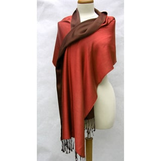 Handwoven Silk Two-tone Chocolate/ Rose Reversible Shawl (India)