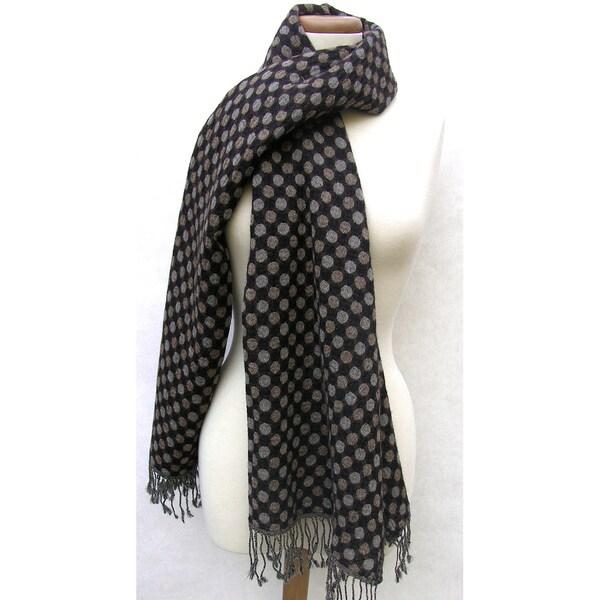 Handwoven Merino Wool Dots Shawl (India)