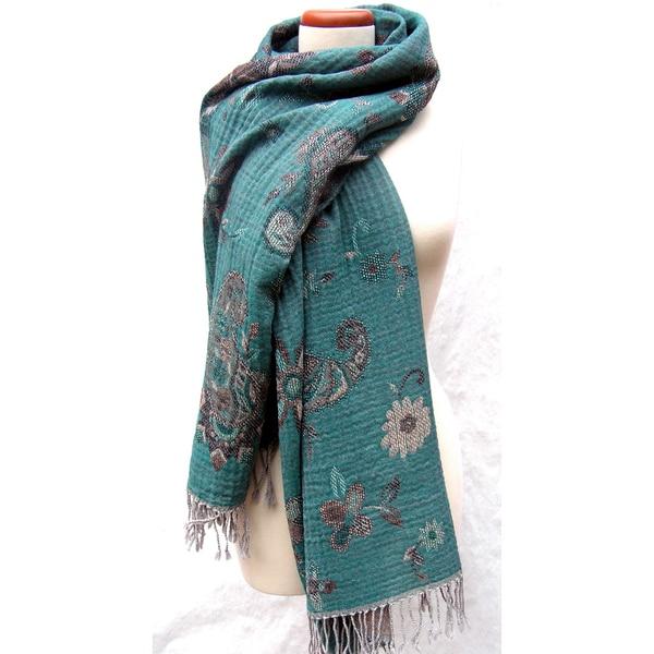 Handwoven Merino Wool 'Seaside Garden' Shawl (India)