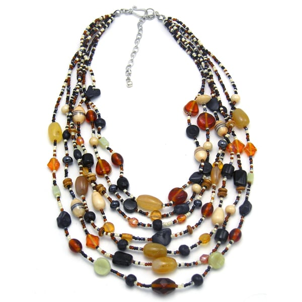 Handmade Glass and Agate Beautiful Earth Necklace (India)
