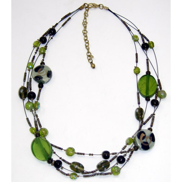 Handmade Green Glass Shimmer Necklace (India)