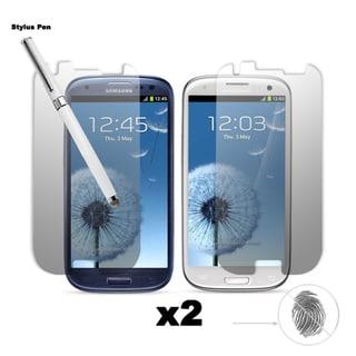 Premium Anti-glare/ Anti-finger Print Screen Protector Samsung Galaxy S III (I9300) (pack of 2) and One Dual-Purpose Stylus Pen