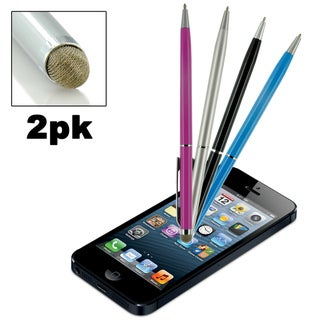 Dual-Purpose Micro-Knit Technology Capacitive Stylus/ Fine Rollerball Ink Pen (Pack of 2)