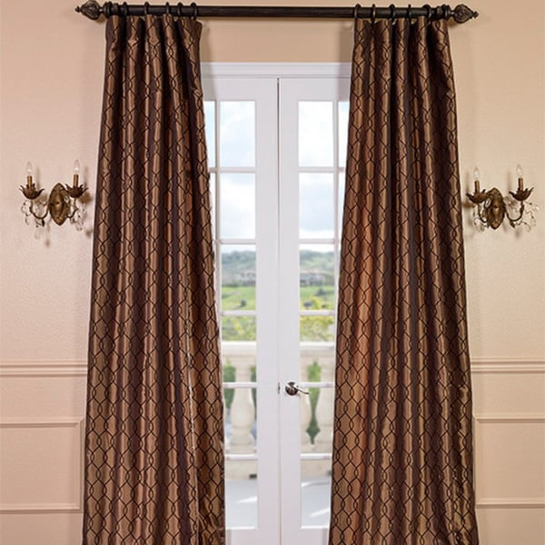 Meridian Chocolate Bronze Faux Silk Curtain Panel