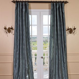 Meridian Silver Blue Faux Silk Curtain