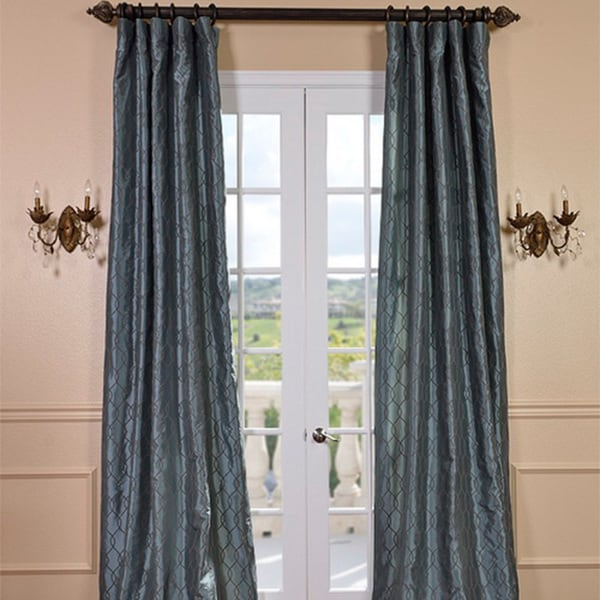Exclusive Fabrics Meridian Silver Blue Faux Silk Curtain