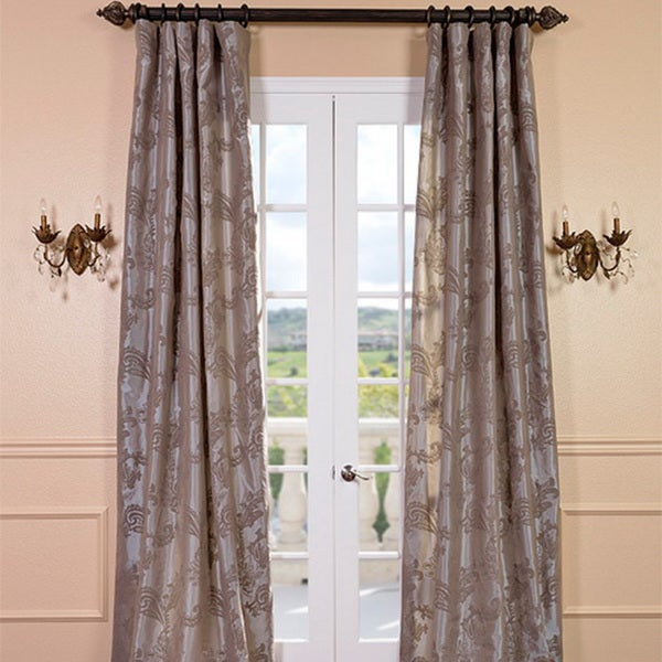 Priscilla Taupe Pewter Faux Silk Curtain Panel