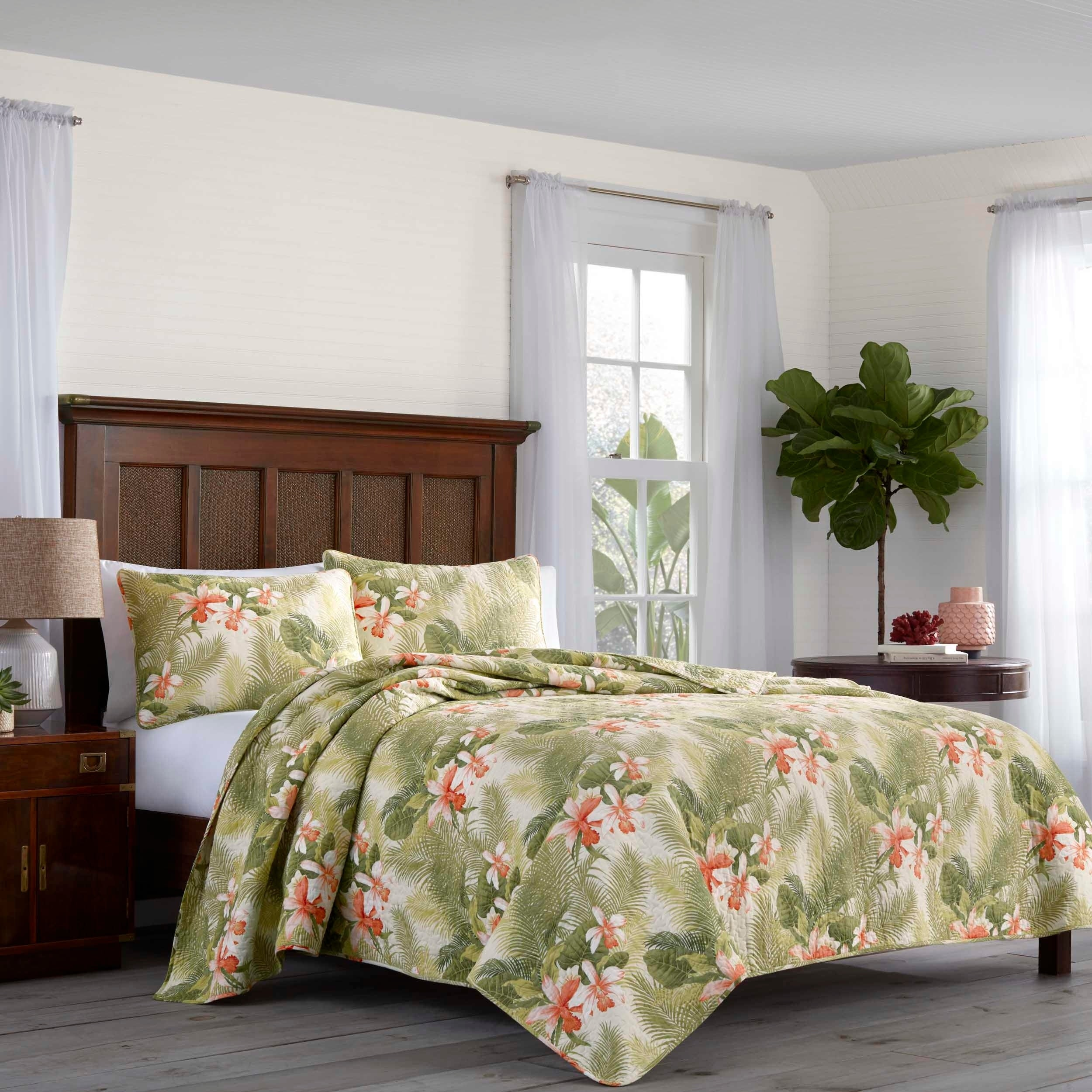 Nip Tommy Bahama Tropical Orchid 3 Piece Quilt Set King