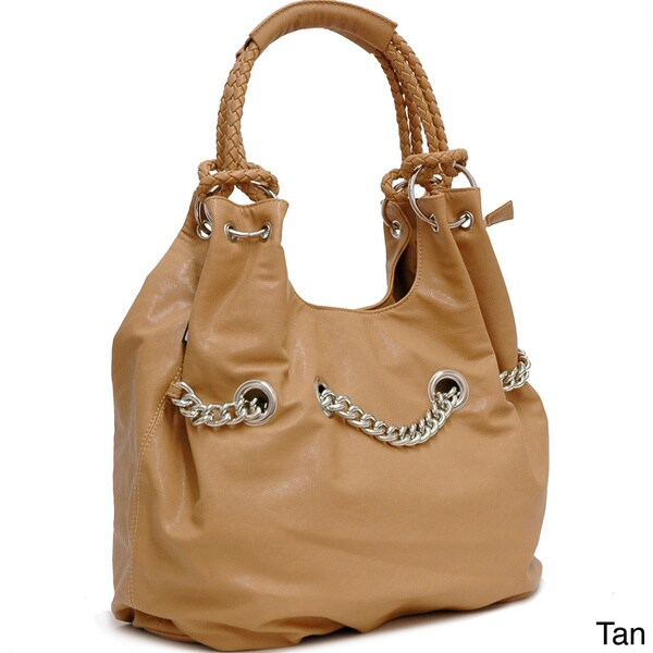 Dasein Chain Accent Faux Leather Shoulder Bag