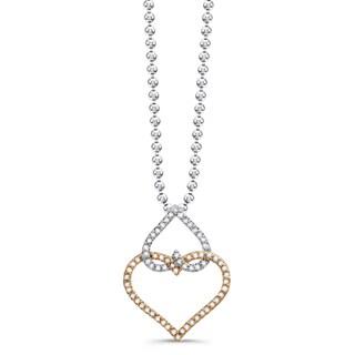 Victoria Kay 14k White and Yellow Gold 5/8ct TDW Diamond Double Heart Pendant (JK, I2-I3)