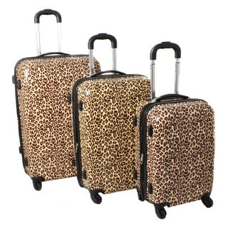 World Traveler Leopard 3-Piece Lightweight Expandable Hardside Spinner Luggage Set with TSA Lock