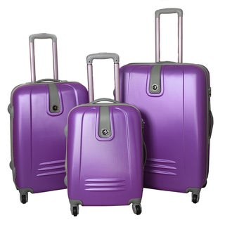 Caribbean Purple Fun 3-Piece Expandable Lightweight Hardside Spinner Luggage Set with Lock