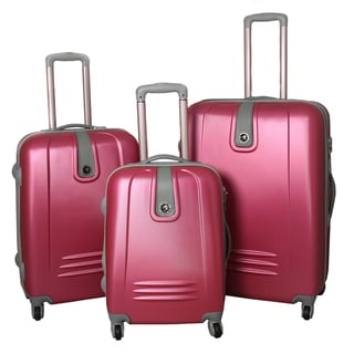 Caribbean Pink 3-piece Expandable Lightweight Hardside Spinner Luggage Set with Lock